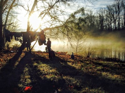 camping on the Roanoke River