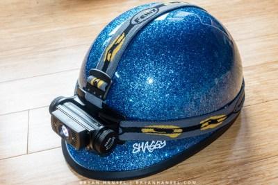 Fenix HL60R on a helmet