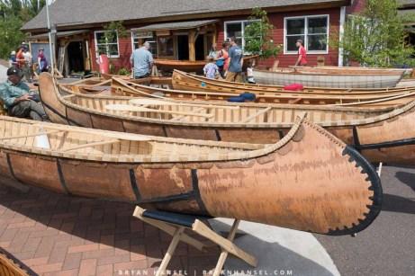 Bark canoe built in the traditional way. Has characteristics of an Ojibwe rice harvesting canoe.