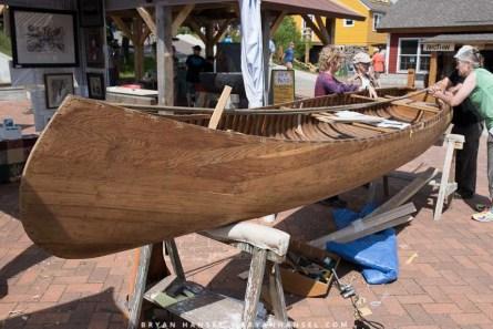 In progress cedar and canvas canoe
