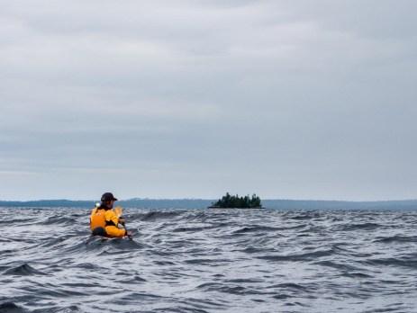 Crossing to Lone Island in choppy conditions on Lake Nipigon. Ontario.