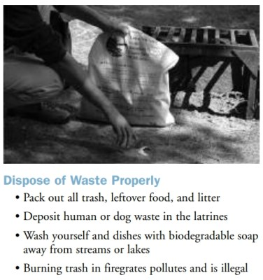 rule for disposing waste in the BWCA
