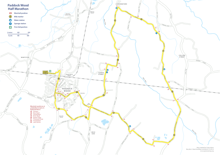 Paddock Wood Half Marathon Race Route