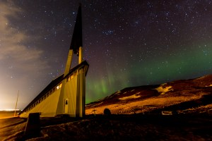 Church with Northern Lights