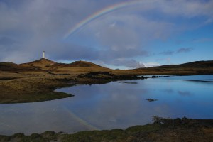 Rainbow over lighthouse