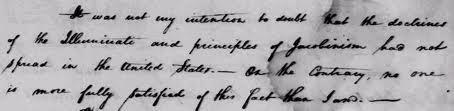 Deo originalnog pisma Georgea Washingtona u vezi Iluminata