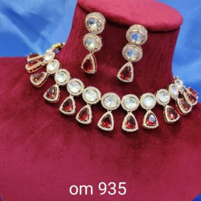 foil kundan necklace set with earrings