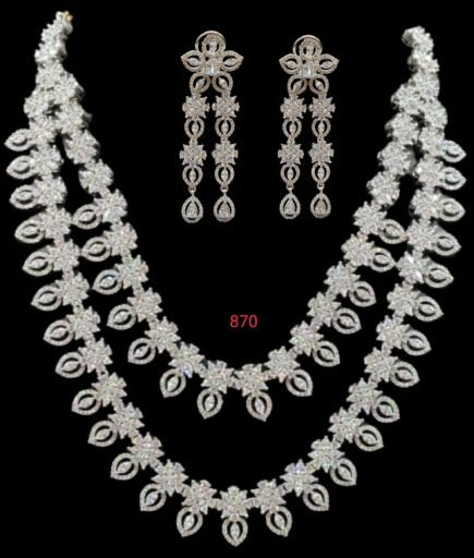 american diamond LONG necklace with earrings in low range