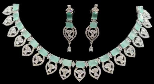 american diamond necklace with earrings in low range