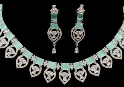 american diamond necklace set with price