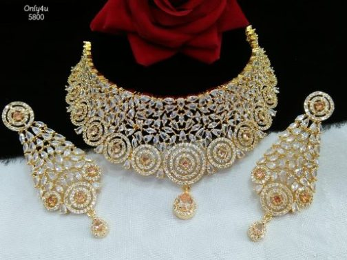 american diamond necklace for girls and womens and bridals