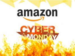 A promotional image of Amazon Cyber Monday with fire effect