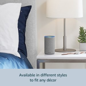 An image of the new Echo on a night stand