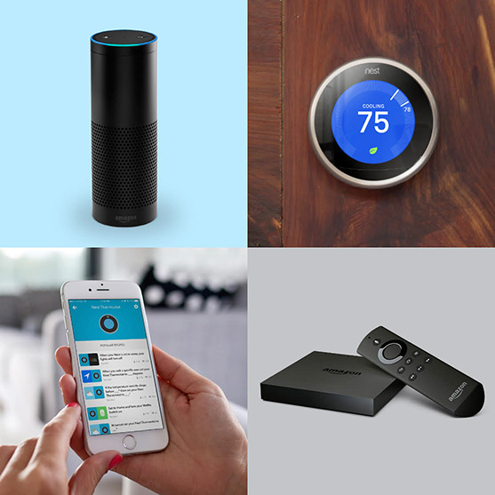 Image of a Nest, Echo, Fire tv, and an Iphone
