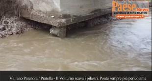 """Vairano Patenora / Ailano / Pratella – Il Volturno """"divora"""" la base della colonna, ponte in bilico. Residente della zona: siamo abbandonati (guarda il video)"""