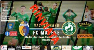 Piedimonte Matese – Calcio, giocatore Fc Matese positivo: domenica non si gioca