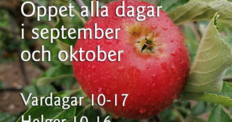 Öppet alla dagar i september och oktober