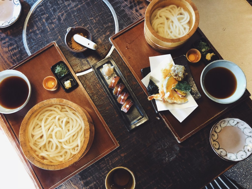 Udon noodle sets at Tsurutontan Soemoncho - Osaka, Japan