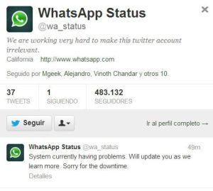 WhatsApp registra problemas a nivel mundial
