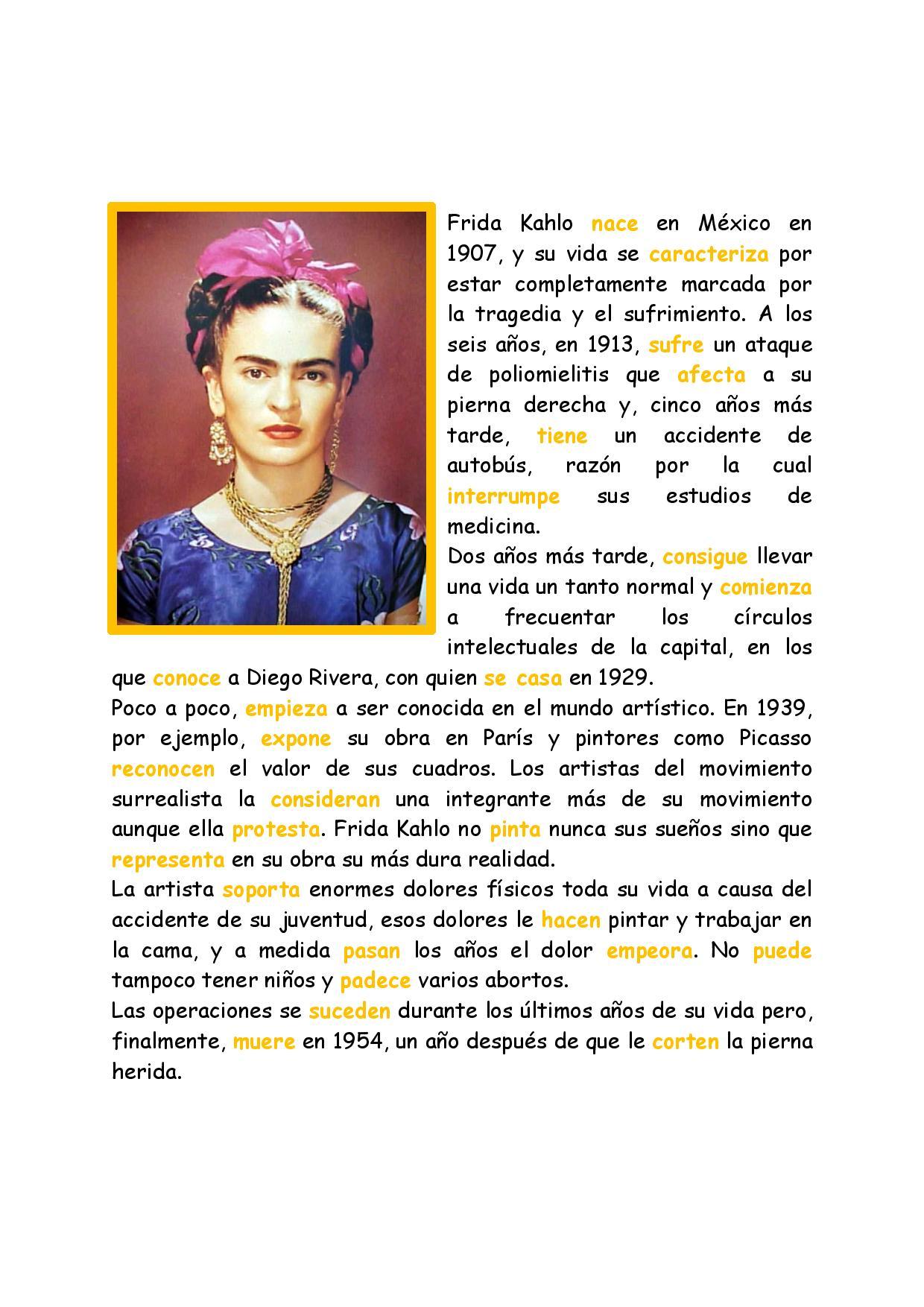 Frida Kahlo En Preterito Indefinido