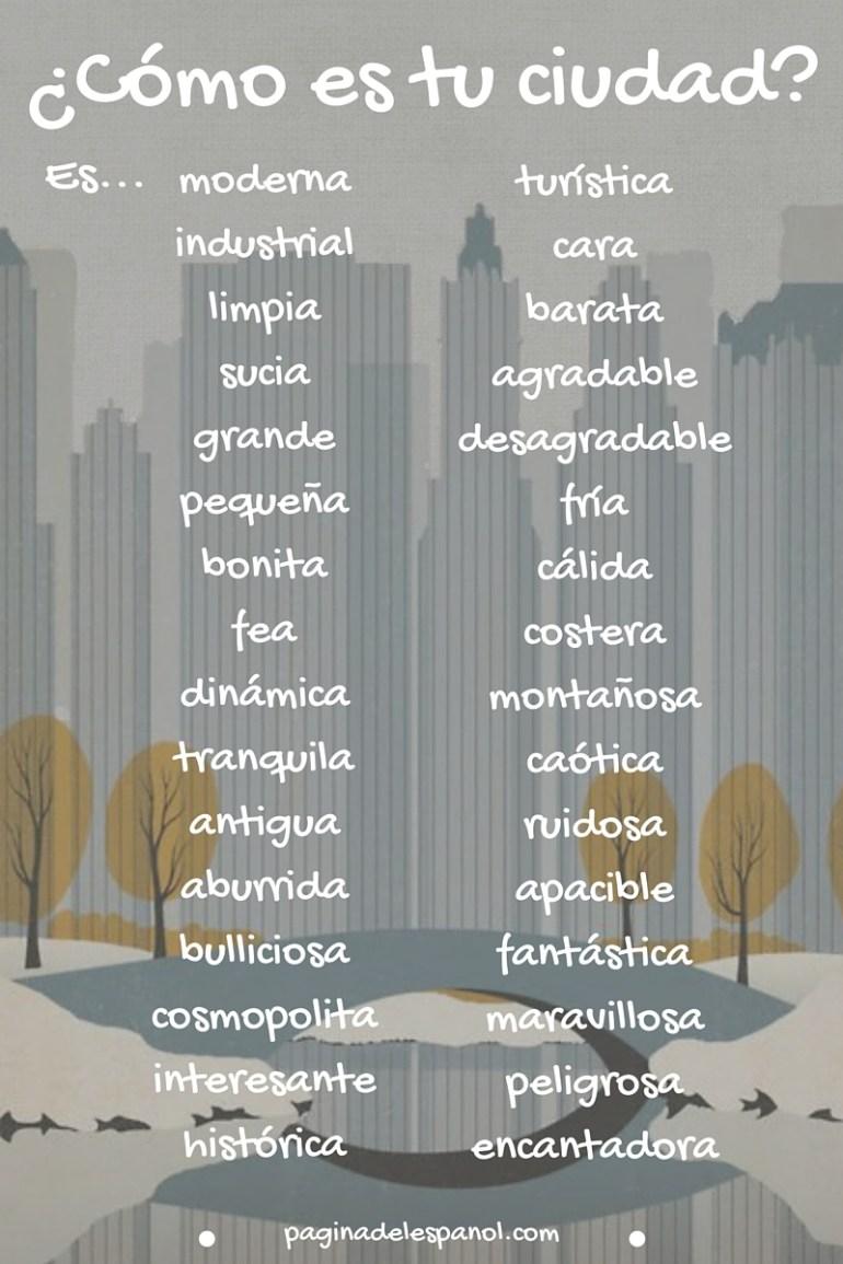 describe tu ciudad en español