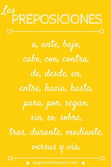 Lista de preposiciones del español