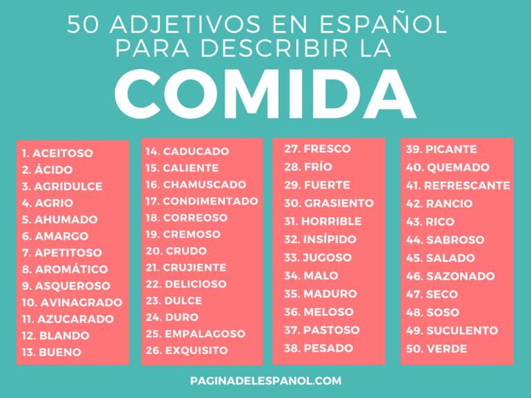 50 Adjetivos Para Describir La Comida La Página Del Español
