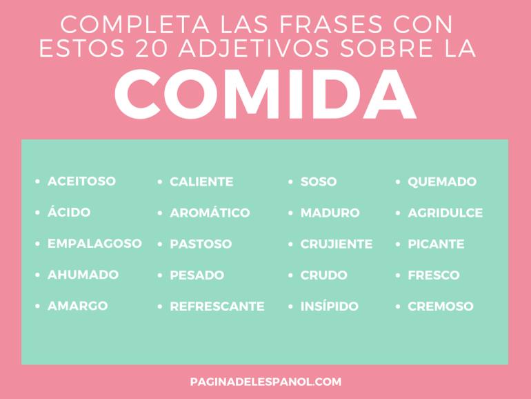 Completa Las Frases Con Estos 20 Adjetivos Sobre La Comida