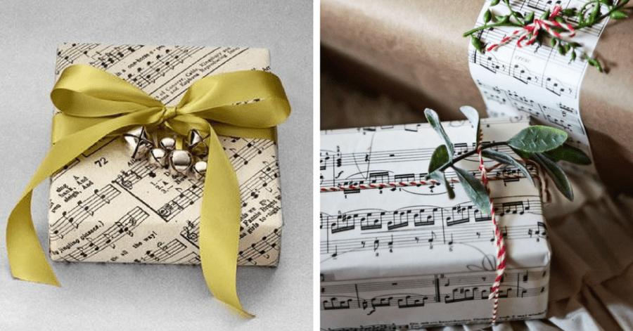 impachetare cadouri hartie muzicala