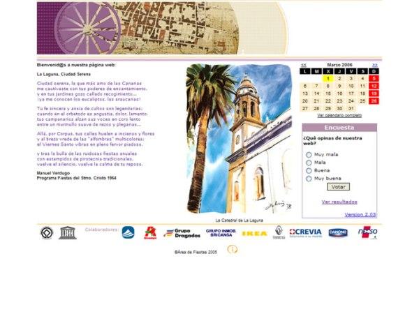 Desarrollo y mantenimiento de contenido, Cliente: Área de Fiestas, Ayuntamiento de La Laguna