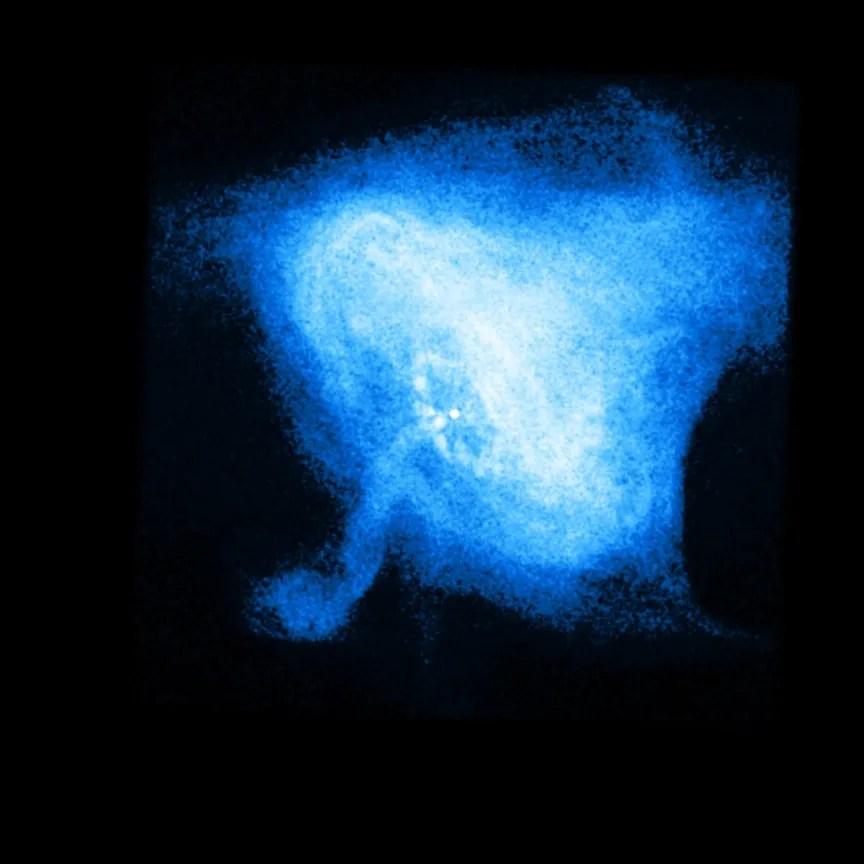 Il plerion formato dalla pulsar al centro della Nebulosa del Granchio, osservato nei raggi X dal telescopio spaziale Chandra ad aprile 2011. Credit: NASA/CXC/MSFC/M.Weisskopf et al.