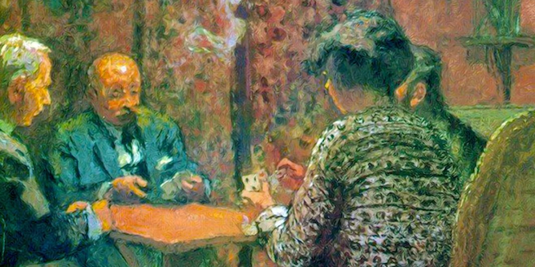 The Game of Bridge - The Salon at the Clos Cêzanne (1923) di Édouard Vuillard (1868-1940)