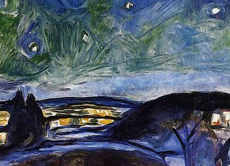 Starry night (1924). Edvard Munch
