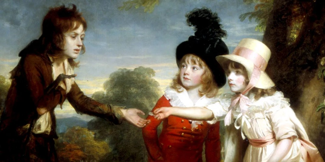 Portrait of Sir Francis Ford's Children Giving a Coin to a Beggar Boy, by William Beechey, 1793. Tate Museum, London.