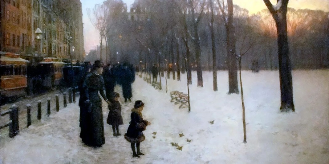 Childe Hassam, Boston Common at Twilight, 1885–86. Oil on canvas. Museum of Fine Arts, Boston