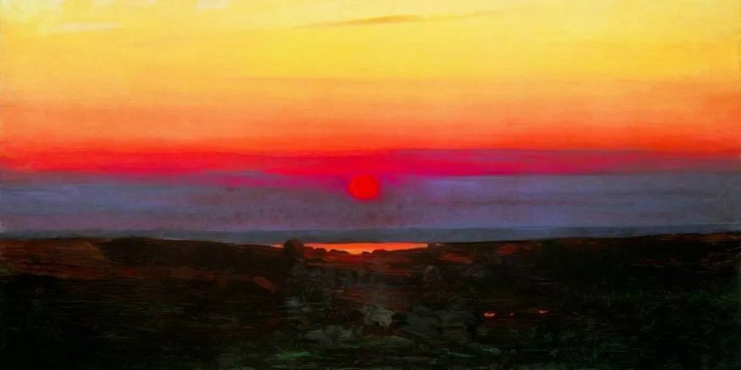 Sunset in the steppes by the sea. Arkhip Kuindzhi