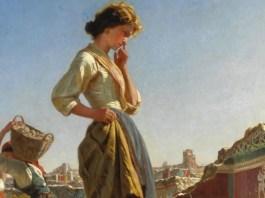 """Copertina di """"La qualità dei sentimenti"""" di Giampaolo Giampaoli. Dipinto di Filippo Palizzi: """"Fanciulla negli scavi di Pompei (parete rossa)"""""""