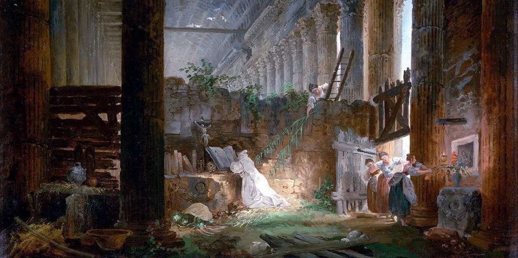 A Hermit Praying in the Ruins of a Roman Temple. Hubert Robert