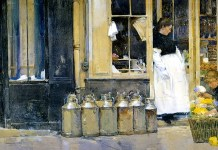 """Flower Store and Dairy Store"". Childe Hassam. Date: 1888"