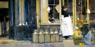 """""""Flower Store and Dairy Store"""". Childe Hassam. Date: 1888"""