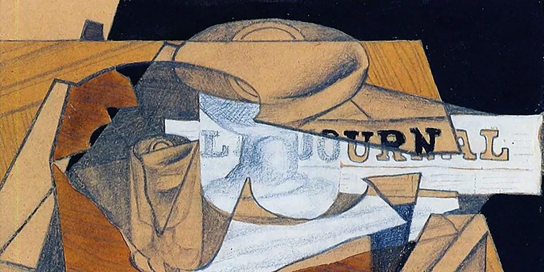 Bowl, Glass and Newspaper, Juan Gris