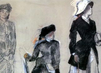 Project for Portraits in a Frieze - Three Women, Edgar Degas (1879)
