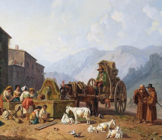 At the village fountain in the Italian mountains, Heinrich Bürkel (1853)