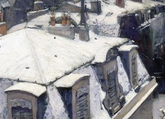 View of Roofs (Snow Effect) or Roofs under Snow, Gustave Caillebotte (1878)
