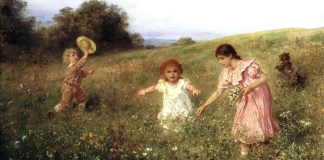 In the spring meadow. Ludwig Knaus