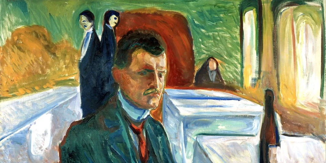 Self-portrait with bottle of wine, Edvard Munch (1906)