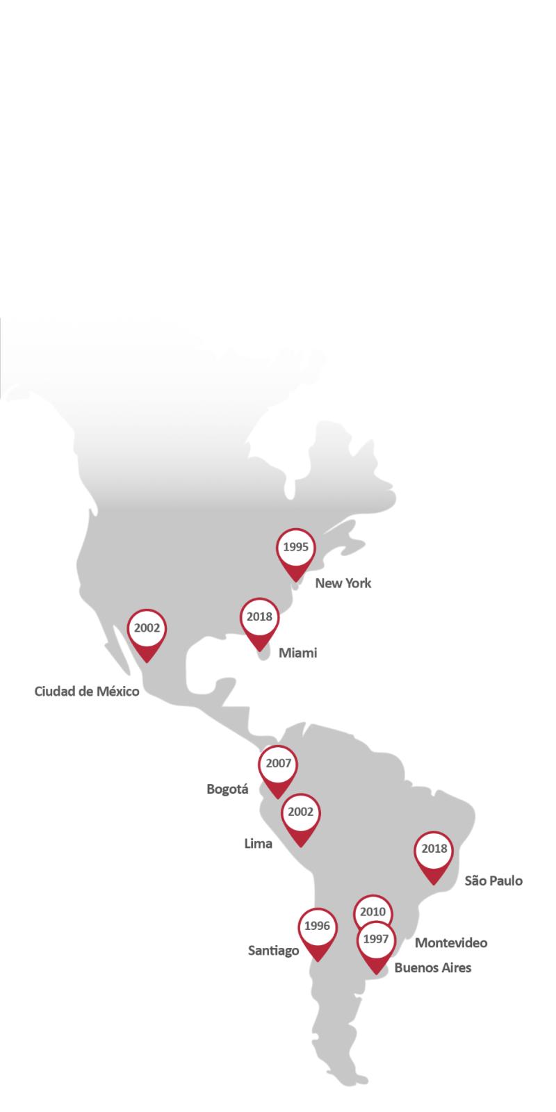 mapa de presencia de compass group y pagoaltoque en América