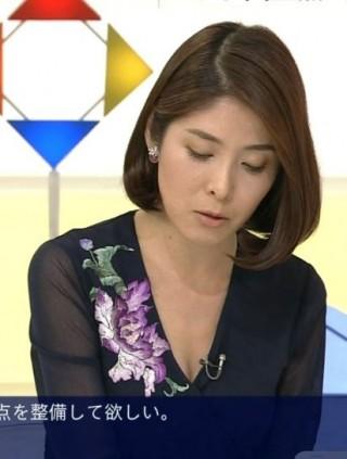 鎌倉千秋アナ・おっぱいの谷間胸チラリ放送事故エロお宝画像