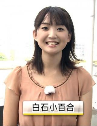 白石小百合アナおっぱいの谷間胸チラリ放送事故エロお宝画像