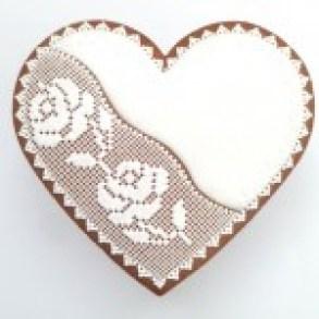 """""""DEUX ROSES"""" Cœur décoré avec quadrillage sur le côté, motif rose (H 11,5 x L 11,5 cm)"""
